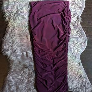 Plum Rouched Fitted Bodycon  Skirt